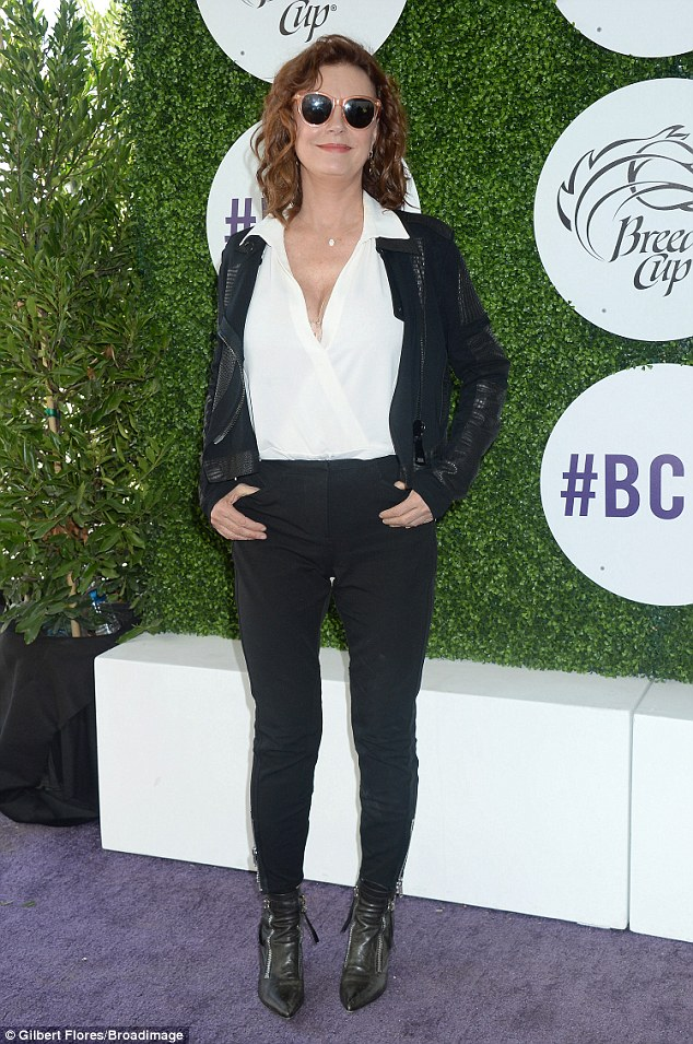 Out at the track: Susan Sarandon was among the celebrities at the 2016 Breeders' Cup World Championships on Saturday