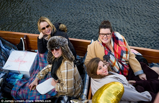 Feeling calm: The pals posed for a quick pic as they took in the sights and sounds of the River Cam