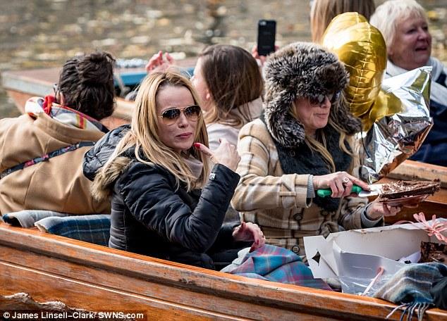 Hitting the spot: The mum-of-two seemed to enjoyed thePatisserie Valerie cake