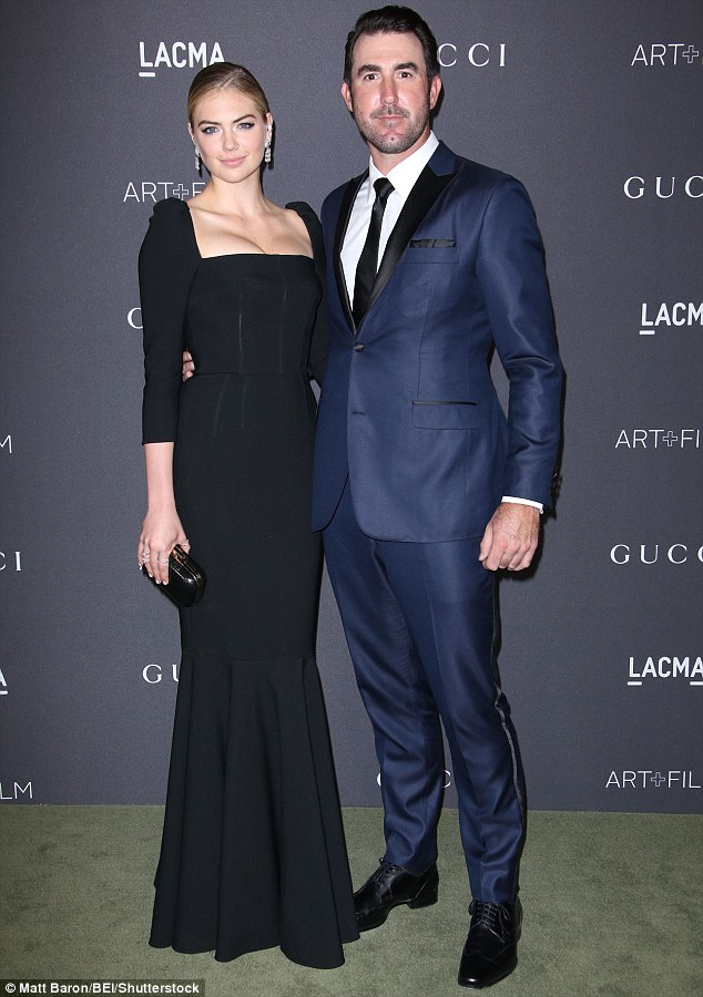 Wedding bells? Kate and her fiance Justin Verlander posed together last week at LACMA Art and Film Gala; the couple have been together since 2011 and got engaged in May of this year