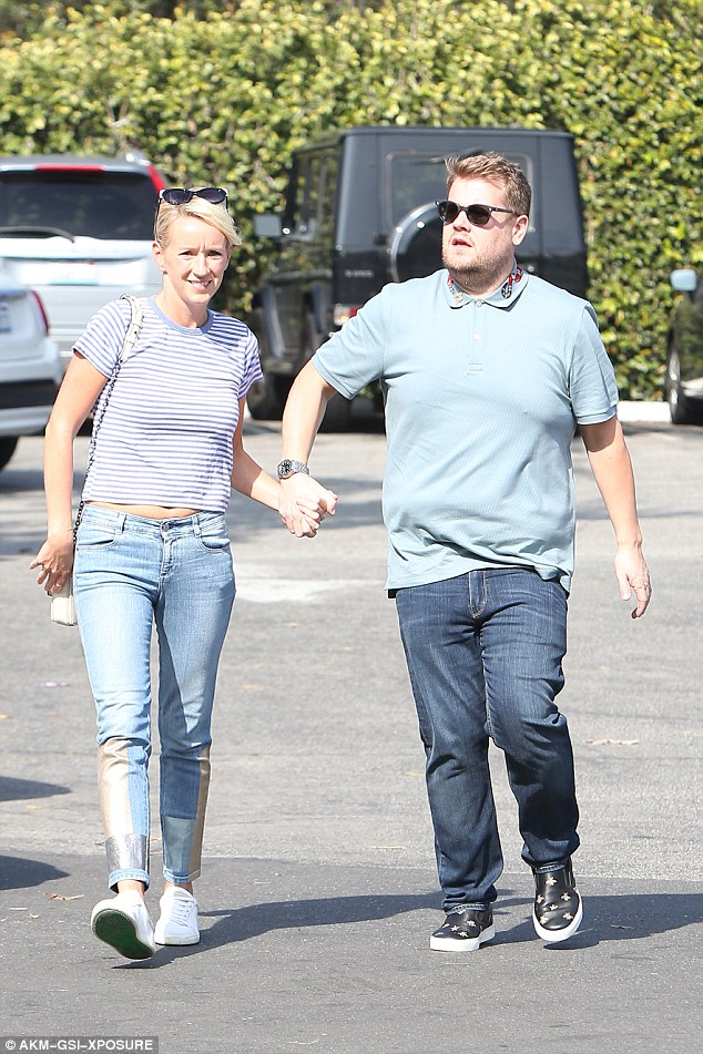 PDA: The Late Late Show host, 38, and his wife looked put on a playful but affectionate display as they ran errands in sunny Santa Monica
