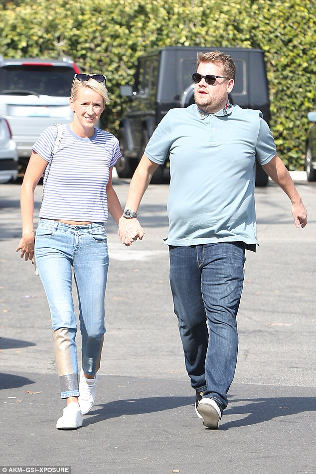 Loved-up:James Corden and his wife Julia Carey ensured they made time for each other on Sunday, as they enjoyed a sunny day out in Los Angeles