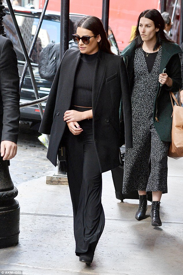 Style icon: Lea Michele looked gorgeous and glam in an all-black outfit out and about on Friday for a busy day of meetings in New York