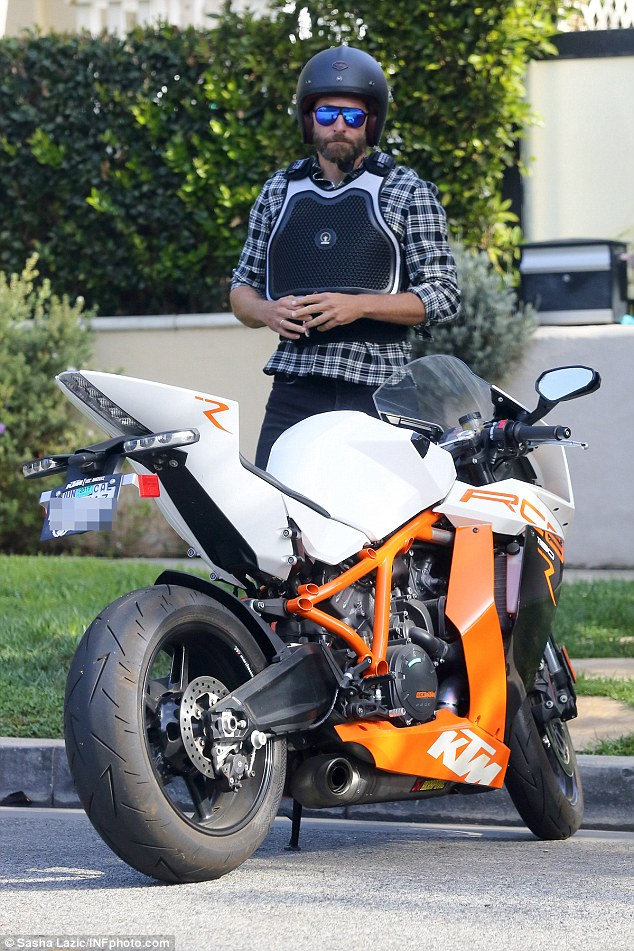 Ready to ride! Bradley Cooper was spotted on Sunday enjoying a spin through Santa Monica atop his trusty KTM motorbike