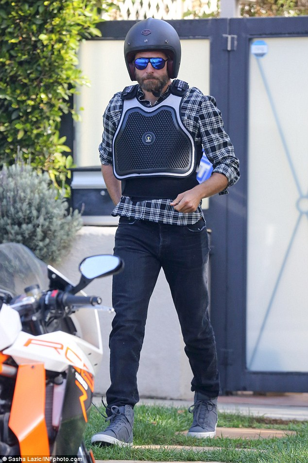 Safety first! The Silver Linings Playbook actor was kitted out in a helmet and protective vest