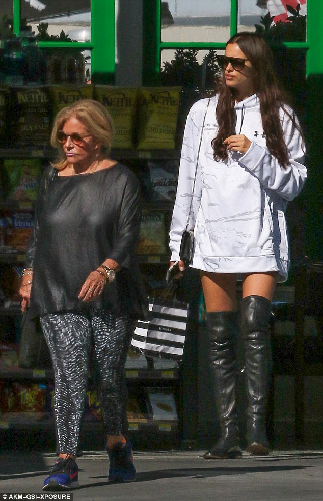 Bonding time: Irina Shayk was spotted with Bradley's mother Gloria Campano in the upscale LA neighborhood of Pacific Palisades on Friday