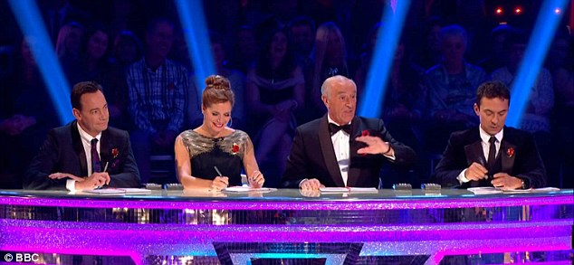 Fantastic four: Squinting her eyes and sighing 'sorry' to her partner, the Irish presenter looked crestfallen as she listened to the judges' comments