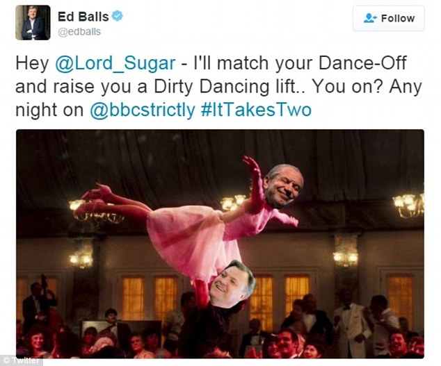 Challenge: On Thursday, Ed Balls responded to Alan Sugar's criticism by challenging him to a dance-off