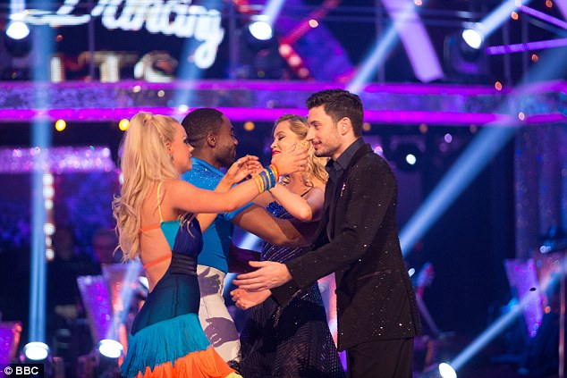Farewell: She hugged her competitors, after judges voted unanimously to send her home
