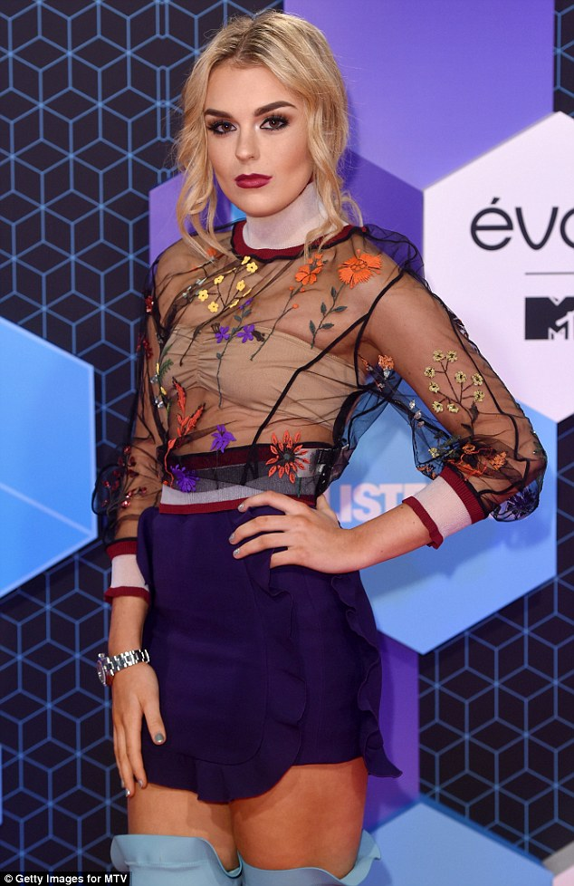 Sheer delight! Tallia Storm appeared to be loving the sheer look, as she attended the MTV EMAs in another racy sheer number on Sunday