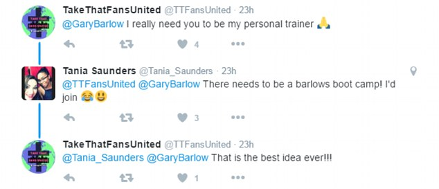 Work out! Fans of Gary Barlow took to Twitter to beg him to open a boot camp gym for them to join