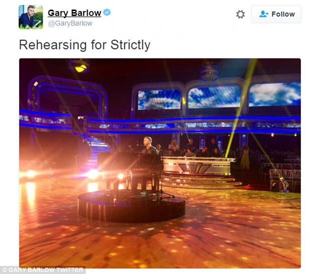 Ready for the music: Gary shared a shot of himself rehearsing at Strictly - and fans will be able to watch him perform on the BBC One show tonight