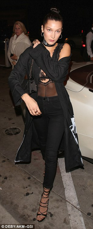 Like a pro! Practising her runway walk for her high-profile upcoming duties, the daughter of reality star Yolanda Foster, strutted out of the upscale eatery in towering strappy black heels