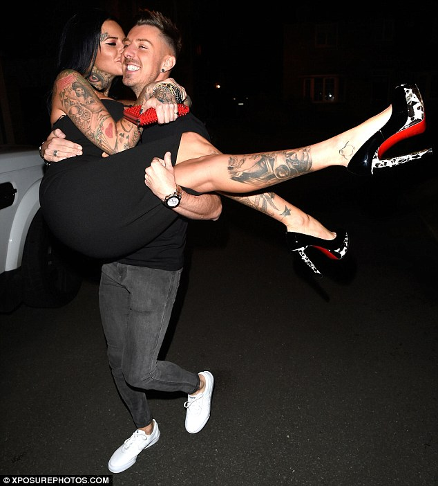 All mine: Newly single Jemma Lucy had no trouble being swept off her feet during an appearance in Manchester on Saturday evening