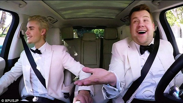 Friends in high places: Perhaps most popular of all is the show's iconic Carpool Karaoke segment - which sees James take celebrities (such as Justin Bieber, above) out for a spin