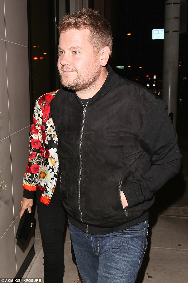 Success story:Meanwhile James, who has made the big time since moving to America, kept things low-key in a similar bomber jacket of plain black