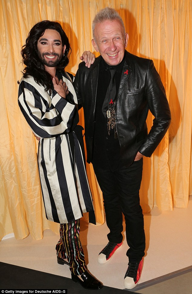 Stylish duo:Conchita Wurst and fashion designer Jean Paul Gaultier looked picture perfect