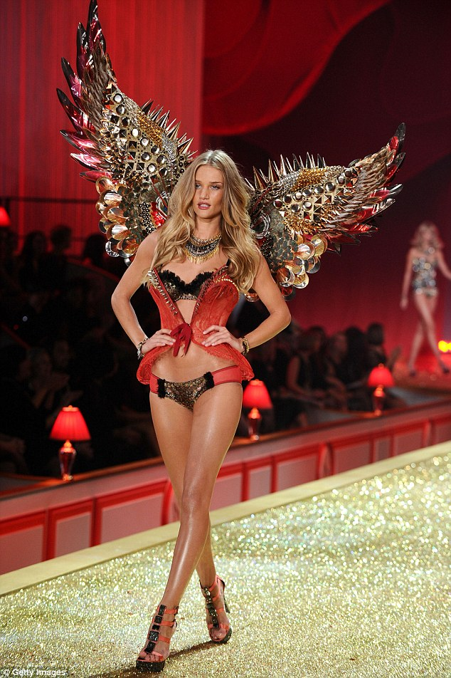 Busy girl:Former Victoria's Secret Angel Rosie is currently Britain's highest paid model