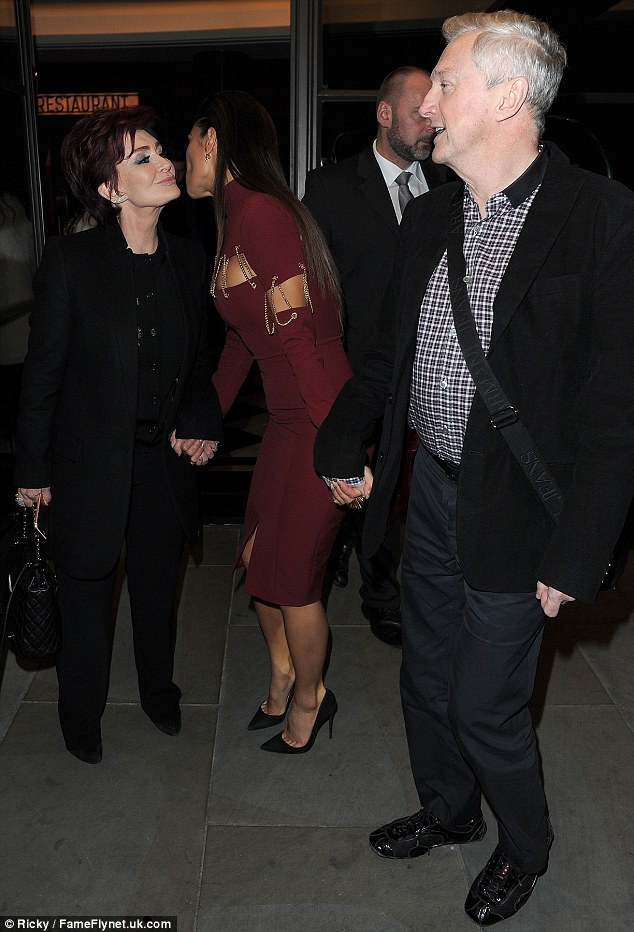 Kisses for everyone! Sharon Osboune also received a peck on the cheek from celebratory Nicole Scherzinger