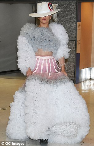 Pictured, Lady Gaga at Narita International Airport in Japan