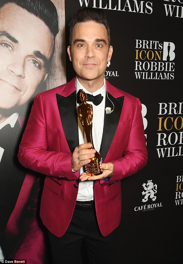 Looking good: The award is the highest accolade given by the BRIT Awards and has previously only been given to Elton John and David Bowie