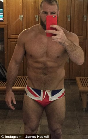 God save the Queen: James showed off his patriotic side in these red, white and blue trunks