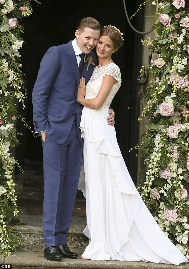 The original: Millie first wore a £4,000 Alice Temperley dress on her wedding day to Professor Green (above) at Babington House in Somerset back in 2013