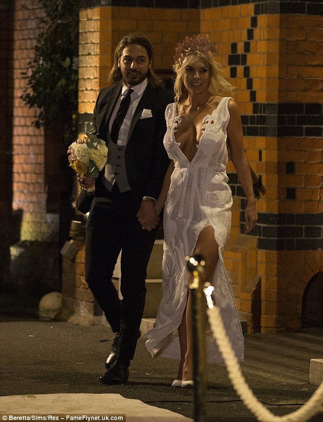 Cleavage flaunting:Frankie Essex displayed her incredible transformation in a plunging white gown for the series finale of TOWIE alongside her co-star Mario Falcone