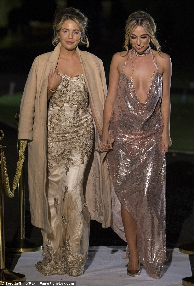 All that glitters!Following suit alongside Lydia Bright (L) was Amber Dowding, 23, who made sure she was not forgotten as a newbie to the show in a raunchier gown of pink sequin