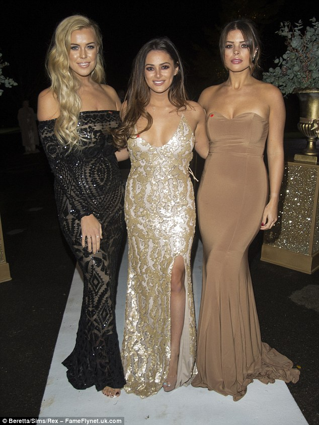 Girl vs girl: Next to arrive was rival trio Chloe Meadows,  Courtney Green and Chloe Lewis (L-R) - who also made a co-ordinated appearance
