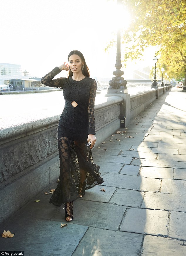 A black sheer dress.Rochelle said: 'I love dressing up, and with the Christmas party season fast approaching I can't wait to wear some of the gorgeous styles in my latest collection'