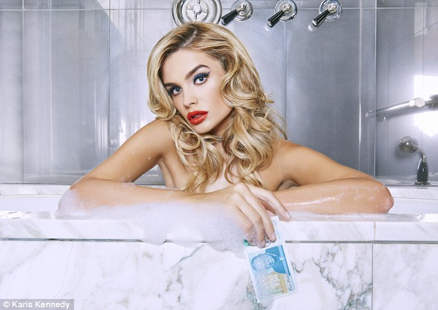 Model Chloe Lloyd, 24,  poses naked in bath tub as she lends her model good looks to a very steamy new campaign