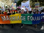 Gay marriage supporters march during a rally in Sydney on June 25, 2016 ©Saeed Khan (AFP/File)
