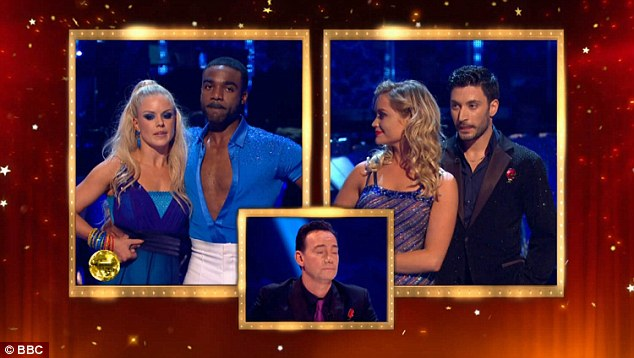 The moment of truth: Both pairs of dancers waited nervously as the judges gave their verdicts