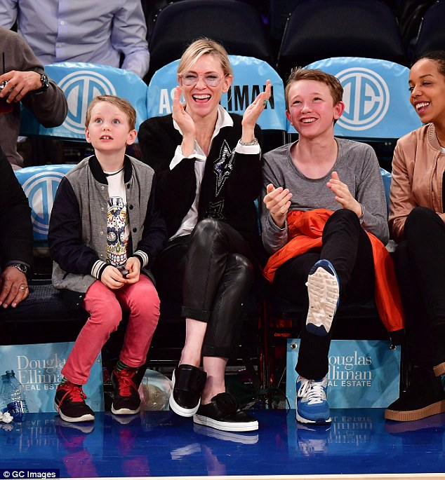 Loving every minute: The trio then clapped the players excitedly - happy to spend time together after Cate's busy few weeks filming new blockbuster Ocean's Eight