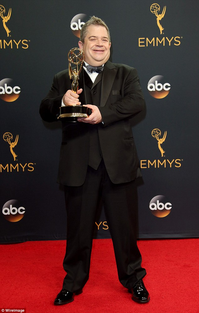 Bittersweet: In September, an emotional Oswalt, 47, was honored with an Emmy for his one-man show Talking For Clapping