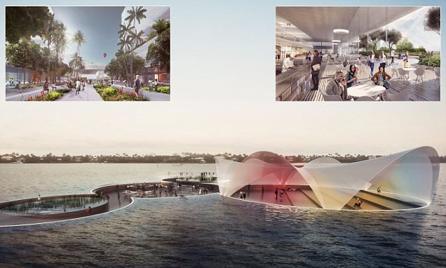 The incredible submerged plaza you have to walk into the sea to reach off West Palm Beach