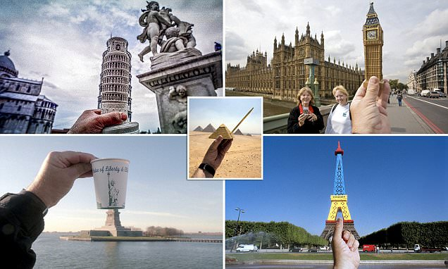 Photographer Michael Hughes tours the world snapping souvenirs against real-life landmarks