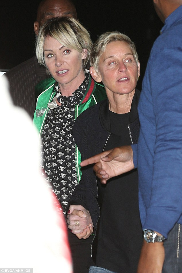 Seeing Yeezy: Ellen DeGeneres and wife Portia de Rossi enjoyed a night out at Kanye West's Saint Pablo concert at The Forum in Inglewood on Wednesday night