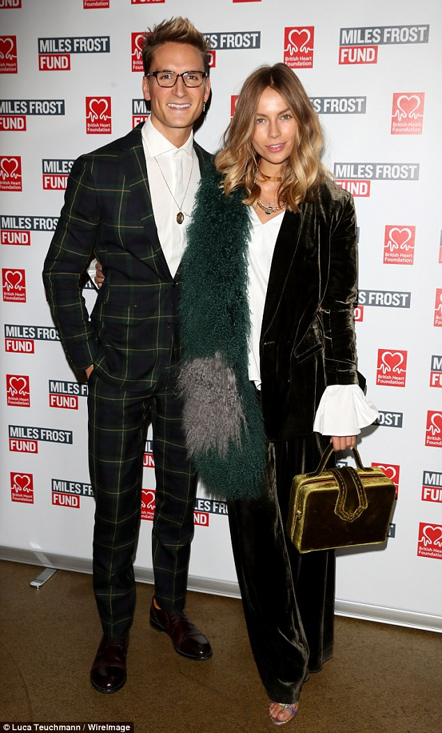 Standing out: Ollie Proudlock continued his patterned legacy as he attended the School of Rock performance in aid of the Miles Frost fund with girlfriend Emma Louise Connolly