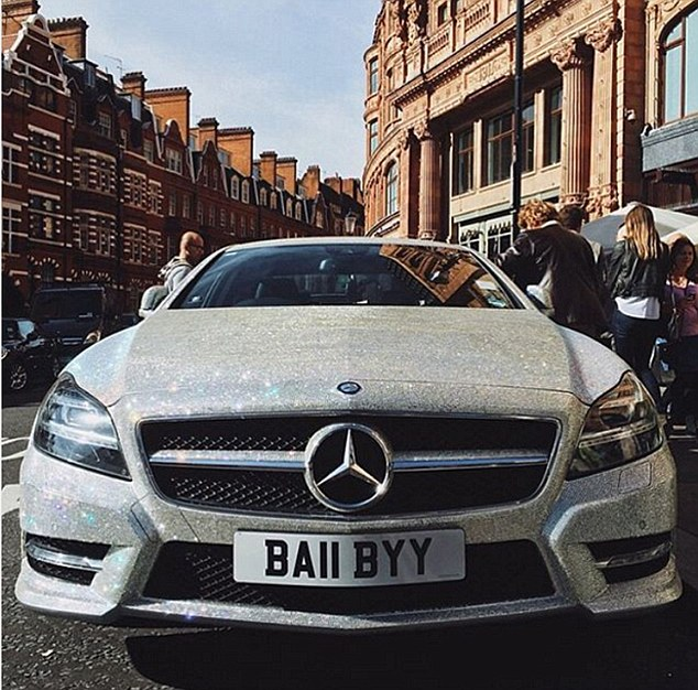 She made headlines in 2014 after her Swarovski crystal-studded Mercedes C-class with the licence plate ¿BA11 BYY¿ was spotted outside Harrods