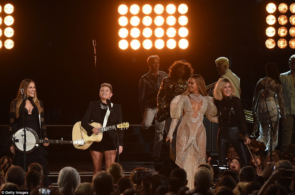 Quite the appearance:The Dixie Chicks were dressed in all black as Beyonce showed off her dancing skills alongside members of the longtime band