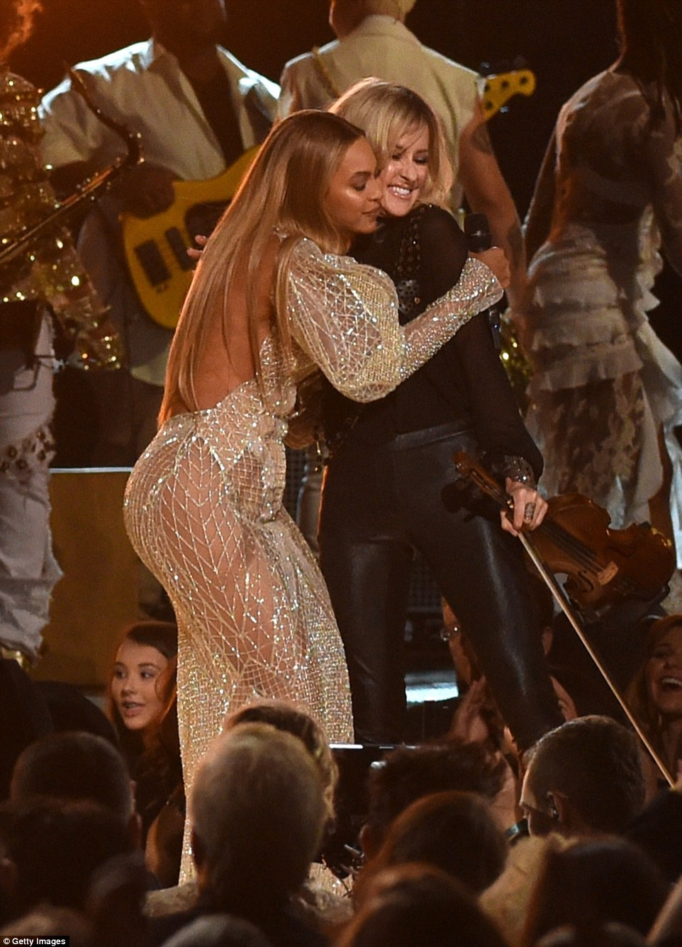 Hugging it out: The two talented women shared a sweet embrace at the end of the performance
