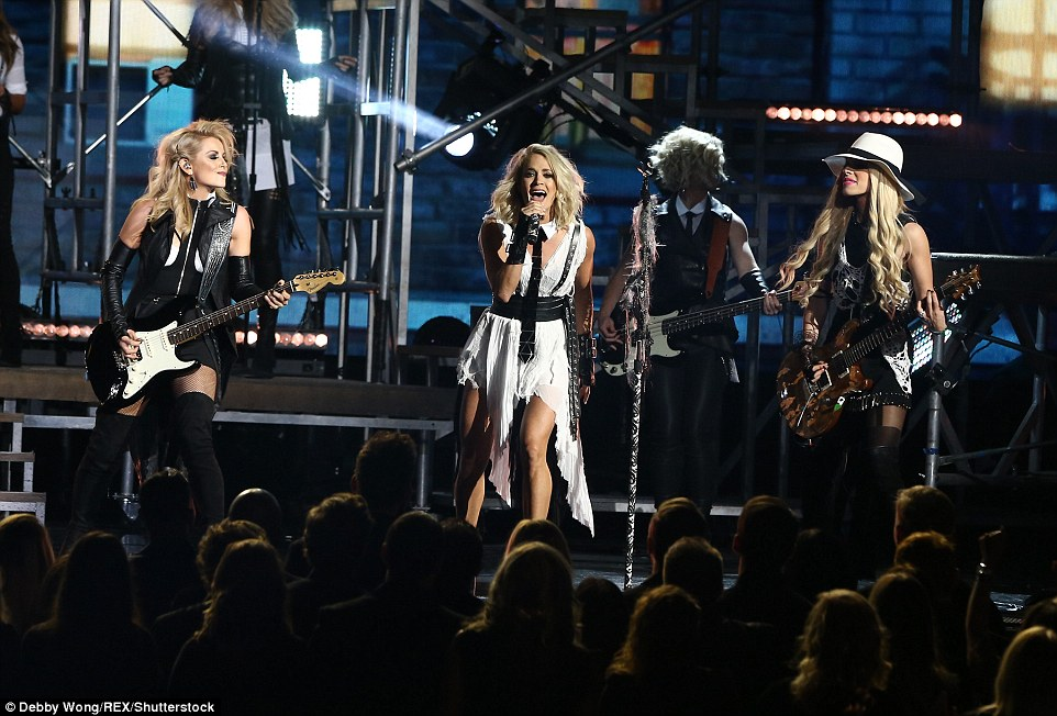 High-energy: She fronted an all-female band for the performance