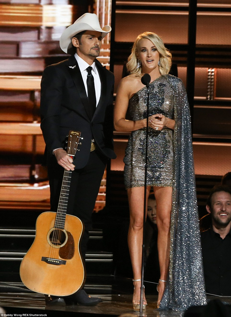 Dynamic Duo: Carrie Underwood and Brad Paisley looked great as they hostedthe 50th Annual CMA Awards on Wednesday night