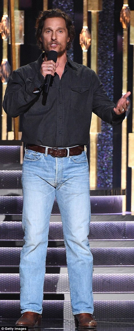Alright, alright, alright: Matthew McConaughey was one of the presenters as he sported double denim