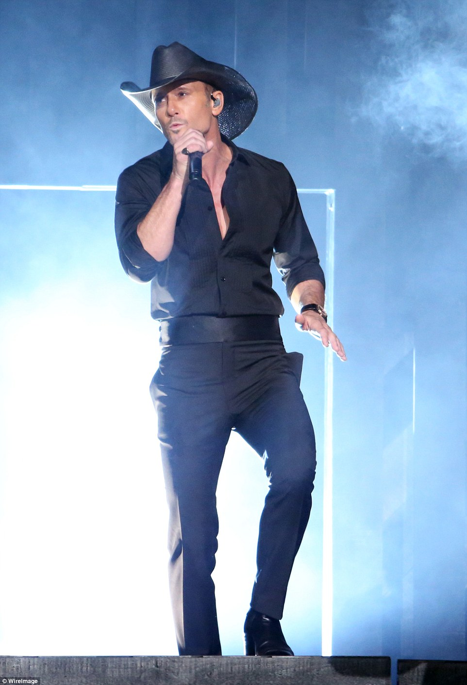 The man in black: The 49-year-old singer gave a rousing performance of Humble And Kind