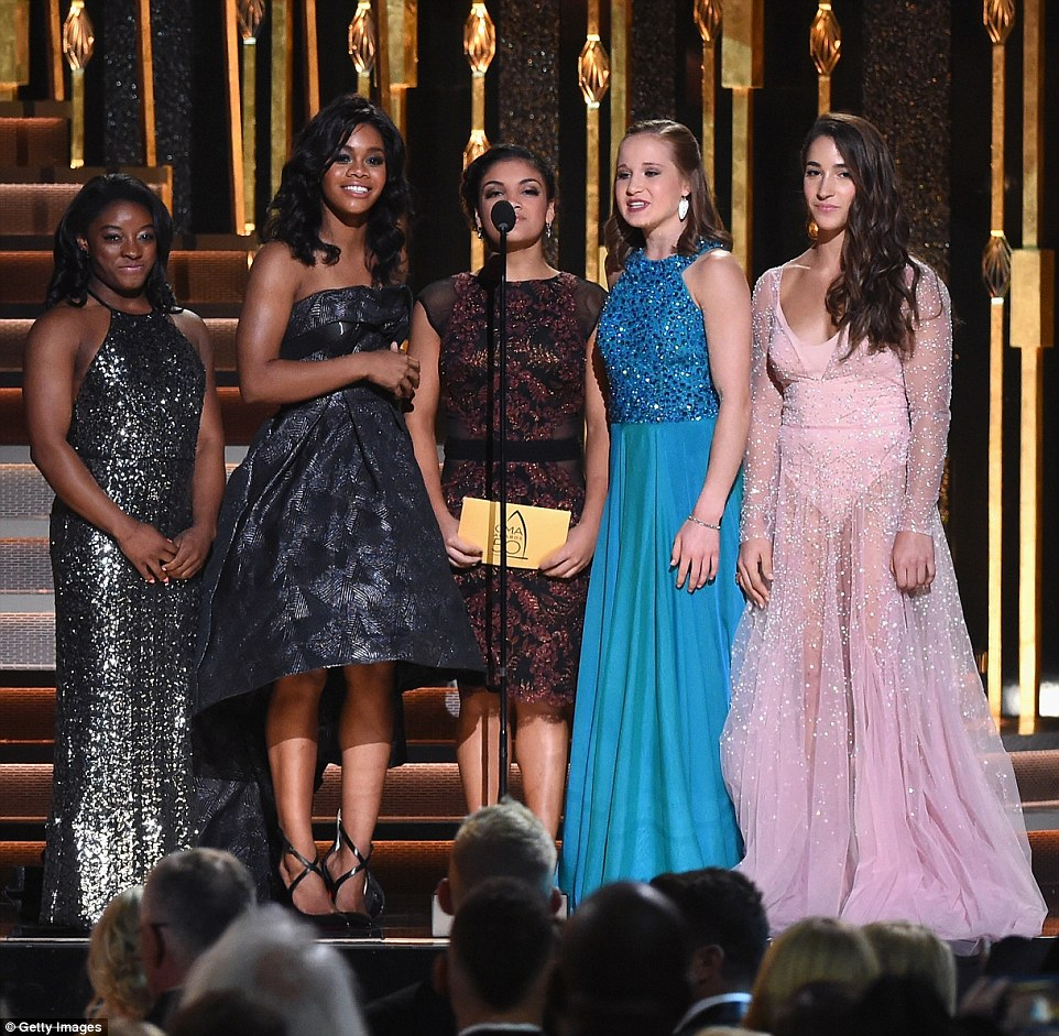Final Five:Olympic gymnasts Simone Biles, Gabby Douglas, Laurie Hernandez, Madison Kocian, and Aly Raisman - pictured from left to right - were the first presenters of the night