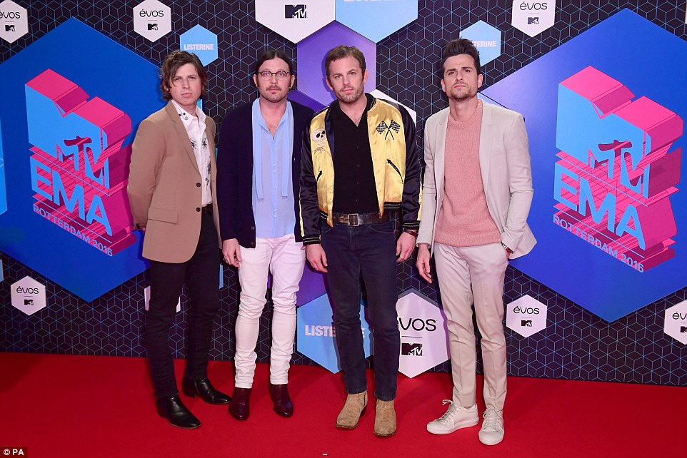 Rocking out: Nominated band Kings Of LeonMatthew, Nathan, Caleb and Jared Followill in pastel colours
