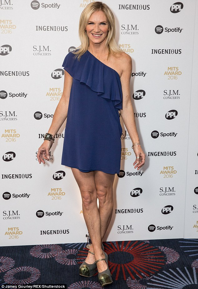 Putting those pins on parade: Making sure she brought some glamour to the prestigious ceremony, the 51-year-old DJ stepped out in a thigh-grazing asymmetrical mini dress